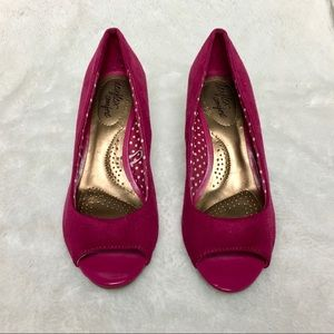 Magenta Peep Toe Wedge Shoes